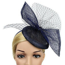 STUNNING NAVY SINAMAY FASCINATOR WITH MATCHING VEILING ON HEADBAND SPRING RACING
