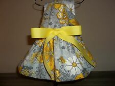 Bright Yellow Print female dog clothes, dress sz small (S).US seller.