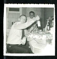 Vintage Photo HAPPY PARTY GOERS DRINK ALCOHOL FROM THE BOTTLE IN KITCHEN