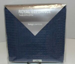 NEW! $50 Living Quarters ROYAL ELEGANCE Dark Blue Tablecloth 60x102