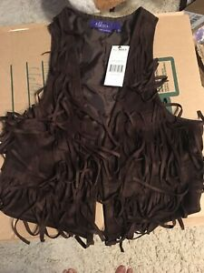 Miley Cyrus & Max Azria Girls Vest, size L, Brown, polyester