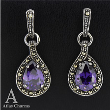 Marcasite Amethyst Earrings 925 Sterling Silver Wedding Birthday Prom Gifts Box