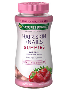 2 BRAND NEW Nature's Bounty Hair Skin and Nails Gummies STRAWBERRY - 80ct