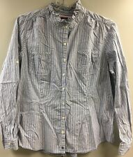 Tommy Hilfiger Blue Pinstrip White Silver Button Up Top XL 13 14 15 16