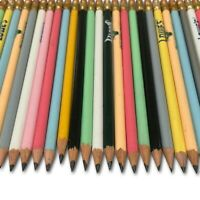 200 Wood Pencils Pre Sharpened #2 Lead Random Colors & Designs Bulk Lot Erasers