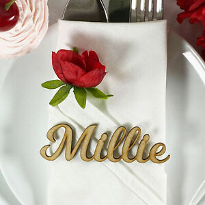 NATURAL 30mm Tall Laser Cut Wooden Wedding Place Name Table Setting 'Millie'