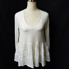 NWOT DELETTA ANTHROPOLOGIE Sz XS IVORY LONG SLEEVE PEASANT STYLE TOP