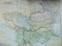 ANTIQUE PRINT DATED C1870'S MAP OF EUROPEAN TURKEY COLOUR ENGRAVING WORLD ATLAS