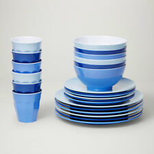 Barel Designs Classic Melamine 48 Piece Glacier Dinner Set - Cups, Bowls, Plates