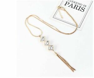 Long Gold crystal Pendant chains pendant necklace tassel statement necklace