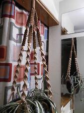 Macrame Plant Hanger PECAN and CINNAMON 4 TAN BEADS