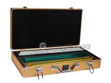 American Mahjong Set - White Tiles, All-in-One Pushers/Racks, Gold Aluminum Case