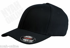 NEW BLACK PLAIN FLEXFIT CAP FITTED CLASSIC BASEBALL FLEXIFIT PEAK HAT SIZE L-XL
