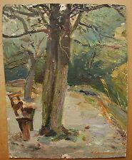 Russian Ukrainian Soviet Oil Painting Landscape Kiev park bench tree realism 50s