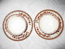 2 Spode Indian Tree Cups and Saucers in Orange Rust
