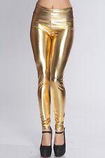 LC79126 Leggings a Vita Alta ad Effetto WetLook Pvc Latex Style ORO Metallico