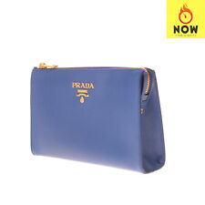 RRP €1650 PRADA Leather Clutch Bag Saffiano Logo Detail Zipped Made in Italy