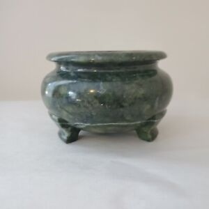 Green Stone Footed Bowl Or Pot White Veining