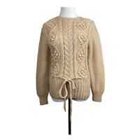 Vintage Hand Knit Sweater M (S) Drawstring Waist Chunky Open Knit Beige Womens