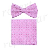 Men's microfiber Pre-tied Bow Tie & hankie set Pink plaids & checkers formal