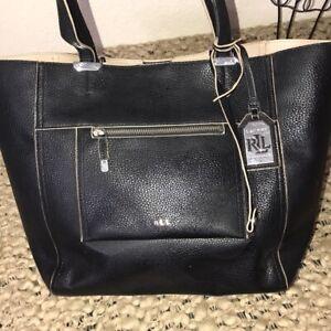 Lauren Ralph Lauren Black Tote Bag Purse Carry All White Interior Silver