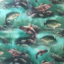 Fabric-Fish Fishermen Fishing Outdoors Bass-1/2 Yard 18