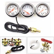 2' 52mm Chrome Volt Water Oil Pressure Triple 3 Gauge Set Gauges Kit Universal