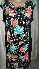 Black cowl neck blue orange green Floral  easy wear stretchy shift Tea dress 20