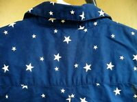 FADED GLORY M BLUE WHITE PATRIOTIC STAR SLEEVELESS COTTON BUTTON UP BLOUSE WOMEN