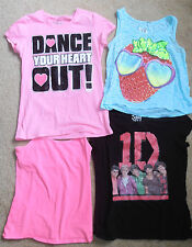 LOT OF 4 JUSTICE  Girl's  T shirt Tops Tanks size 14 Dance & 1D & Strawberry