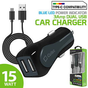 15W 3A Dual Port USB Car Charger + Type-C Cable for Galaxy S9+ Note 8 Pixel 2