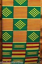 African Kente Print Fabric Cloth Bright & Bold Colors 100%25 Cotton Sold per yard