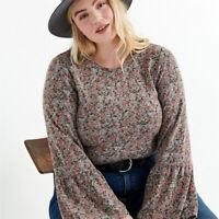 Lucky Brand Womens Plus Size 3X Floral Cloud Jersey Bell Sleeve Top Blouse Boho
