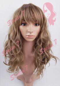 W179 Caramel Ash Brown Medium Length Wavy Wig - studio7-uk