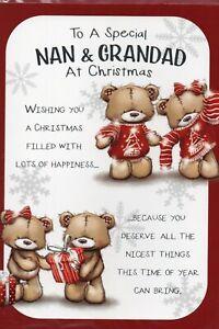 Nan And Grandad Christmas Card Cute Design By Prelude Cute Size 20cm x 14cm