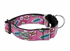 RC Pet Products 1-1/2 All Webbing Martingale Dog Collar, Pink Comic Sounds, Medi