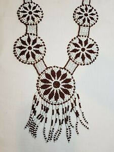 Vintage Native American Seed Bead Five Medallion Necklace Brown & White