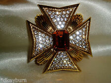 Exquisite JOAN RIVERS Clear & Topaz Crystal Pave Maltese Cross Pin / Brooch