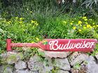 "Budweiser Beer Wood Paddle Beer Sign Nautical Tiki Bar Sign Pub Man Cave 39"""