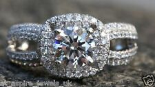 2.46CT BRILLIANT CUT TWO LINE DIAMOND SOLITAIRE ENGAGEMENT RING 14c WHITE GOLD