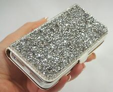 Silver Gray Clear Frame Swarovski Elements Crystals Wallet Case Cover Galaxy S3