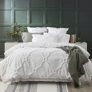 Renee Taylor Moroccan Cotton Chenille Vintage wash Tufted Quilt cover set White