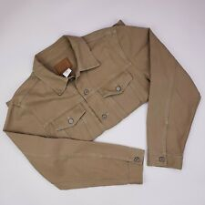 Gap Denim Jacket Large Tan Cotton Linen Blend Mens Size L Metal Buttons Jean Man