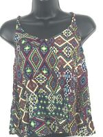 Eyeshadow women's multi-color strappy sleeveless cami tank top blouse size Small