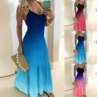Women Maxi Dress V-Neck Long Dress Boho Gradient Printed Gown Casual Party Blue