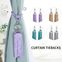 2PCS Curtain Holdbacks Rope Tie Backs Tassel Tiebacks Beaded Ball Home Decor US