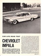 1961 CHEVROLET IMPALA 348/250 HP ~ ORIGINAL 4-PAGE ROAD TEST / ARTICLE / AD