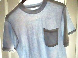 M Vtg 90s Fruit of the Loom Blue Faded Distressed Thrashed Surf Pocket T-Shirt