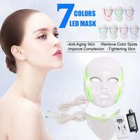 7 LED Lumière Photon Visage Masque Cou Rajeunissement Peau Thérapie Rides Anti H