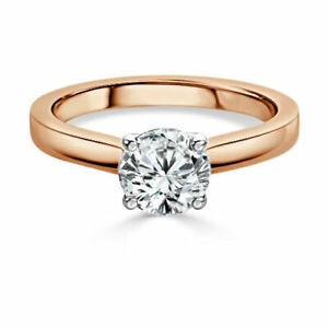 1.00 Ct Moissanite Round Cut Rose Gold Valentine Ring 14K Solitaire Girl ring